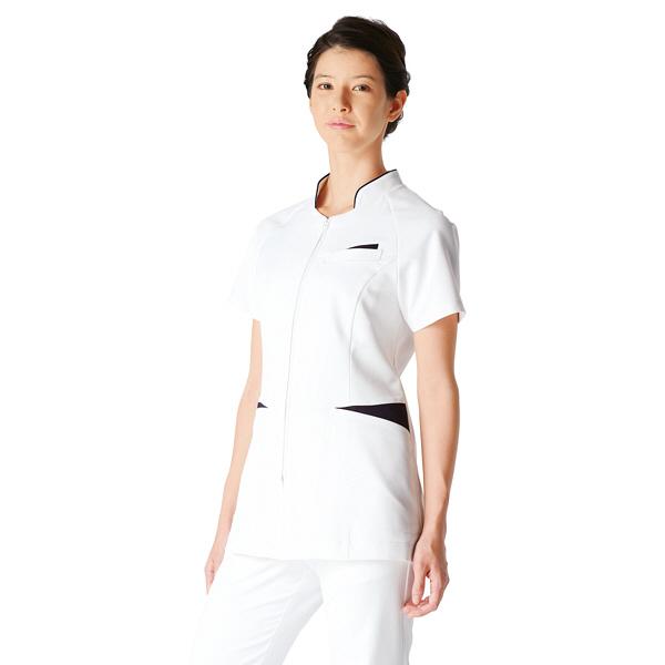 【メーカーカタログ】 KAZEN レディスジャケット半袖 ホワイトxネイビー M 054-28-M 1枚  (直送品)