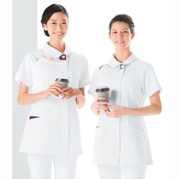 KAZEN レディスジャケット半袖 (ナースジャケット) 医療白衣 ホワイトXプラム S 070-25 (直送品)