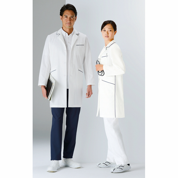 KAZEN レディスコート診察衣(ハーフ丈) ドクターコート 医療白衣 長袖 オフホワイト×ネイビー シングル 3L 126-18 (直送品)