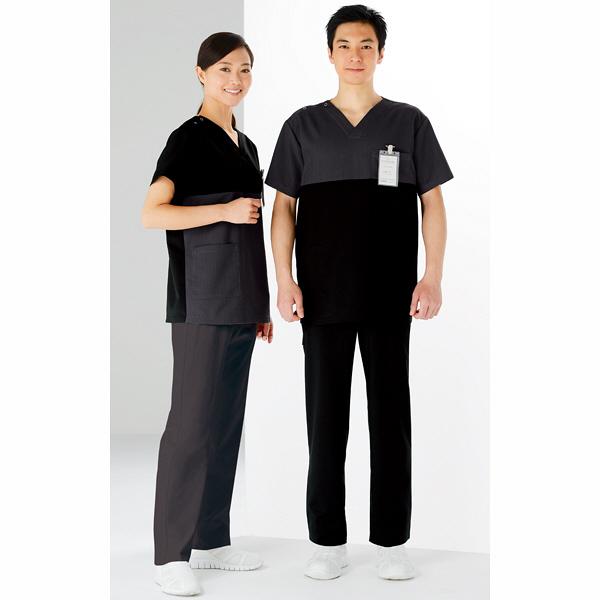 KAZEN スクラブ男女兼用 半袖 ブラックXチャコール S 148-99 (直送品)
