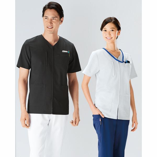 KAZEN スクラブ男女兼用 半袖 シルバーホワイト L 174-90 (直送品)