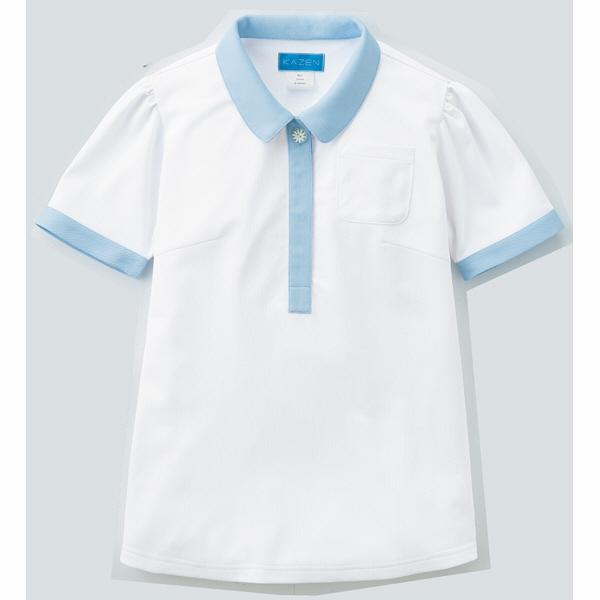 【メーカーカタログ】 KAZEN レディスポロシャツ ホワイトxミント M 239-98-M 1枚  (直送品)