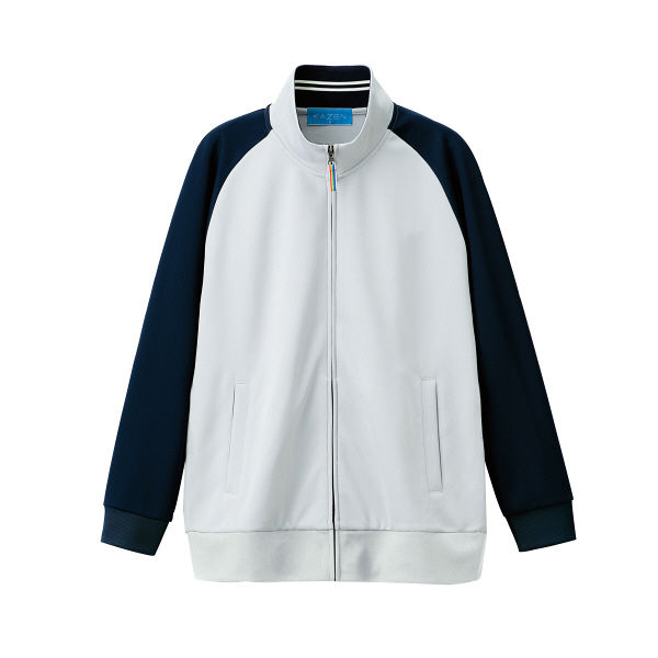 【メーカーカタログ】 KAZEN ジャージジャケット グレーxネイビー L 243-11-L 1枚  (直送品)
