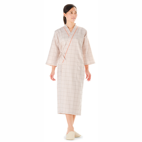 KAZEN 患者衣ガウン (検査着 検診衣) 男女兼用 ベージュ S 289-72 (直送品)