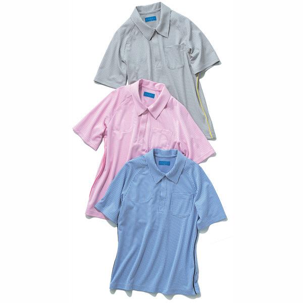 KAZEN ニットシャツ 男女兼用 ブルー LL APK234-18 (直送品)