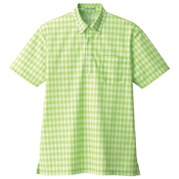 【メーカーカタログ】ボンマックス チェックプリントポロシャツ(半袖) グリーン L FB4523U 1枚 (直送品)