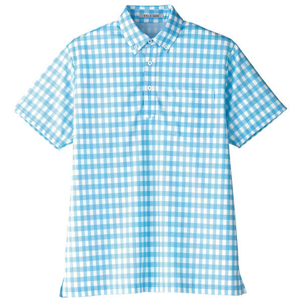 【メーカーカタログ】ボンマックス チェックプリントポロシャツ(半袖) ブルー SS FB4523U 1枚 (直送品)