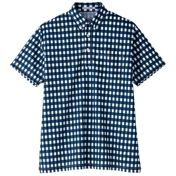【メーカーカタログ】ボンマックス チェックプリントポロシャツ(半袖) ネイビー 4L FB4523U 1枚 (直送品)
