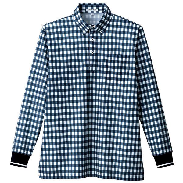 【メーカーカタログ】ボンマックス チェックプリントポロシャツ(長袖) ネイビー 3L FB4536U 1枚 (直送品)
