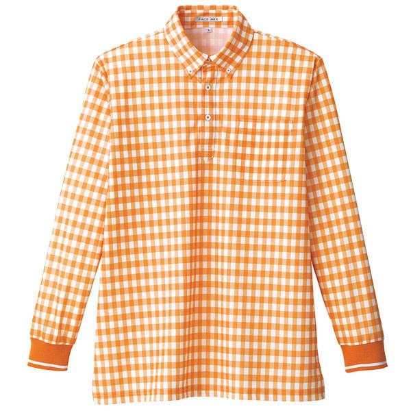 【メーカーカタログ】ボンマックス チェックプリントポロシャツ(長袖) オレンジ LL FB4536U 1枚 (直送品)