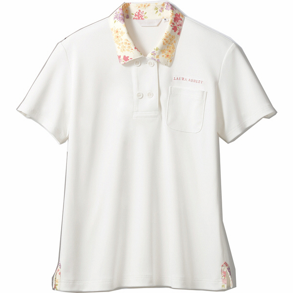 住商モンブラン レディスニットシャツ オフ白×アメリピンク M LW202-12 (直送品)