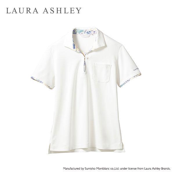 住商モンブラン レディスニットシャツ オフ白×アメリブルー L LW203-13 (直送品)