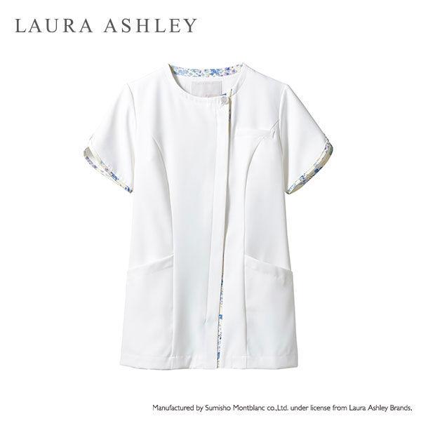住商モンブラン ローラアシュレイ ナースジャケット レディス 半袖 オフホワイト×アメリブルー M LW802-13 (直送品)