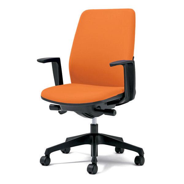 プラス オフィスチェア Kaile(カイル) ハイバック 布張り L字肘付き オレンジ KB-HL63SL OR 1脚 (直送品)