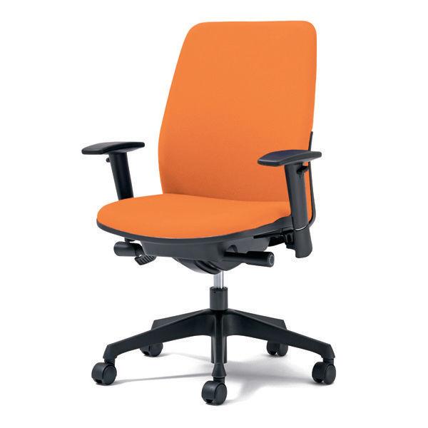 プラス オフィスチェア Kaile(カイル) ハイバック 布張り アジャスト肘付き オレンジ KD-HL63SL OR 1脚 (直送品)