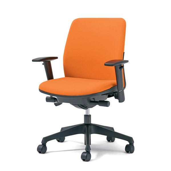 プラス オフィスチェア Kaile(カイル) ローバック 布張り アジャスト肘付き オレンジ KD-HL66SL OR 1脚 (直送品)