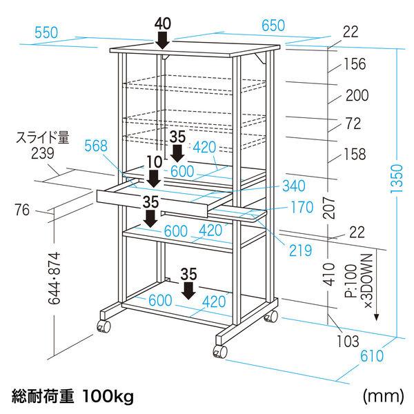 サンワサプライ ハイスタンドパソコンラック RAC-504N 1台 (直送品)