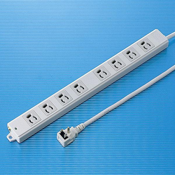 サンワサプライ 工事物件タップ 3P式(絶縁キャップ付きL型プラグ) 8個口 1m TAP-K8L-1 1個 (直送品)