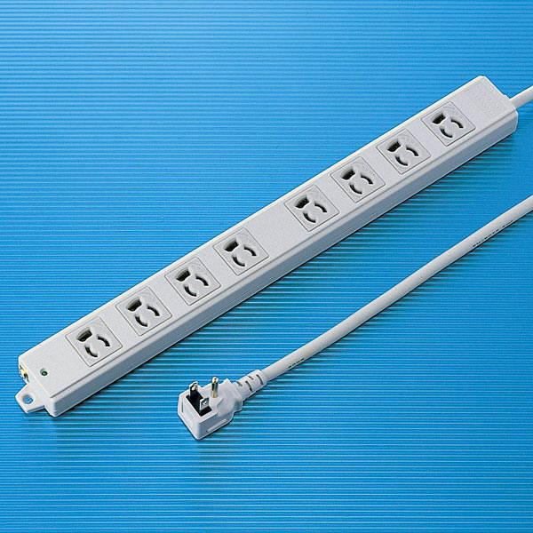 サンワサプライ 工事物件タップ 3P式(絶縁キャップ付きL型プラグ) 8個口 1m TAP-KE8L-1 1個 (直送品)