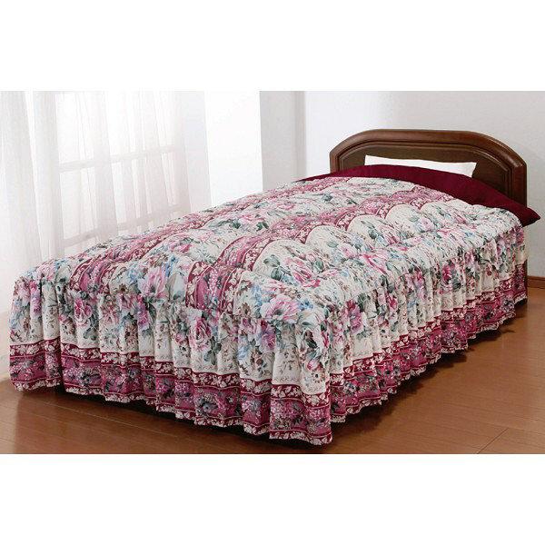 マイヤー毛布地ベッド布団 ダブル ピンク