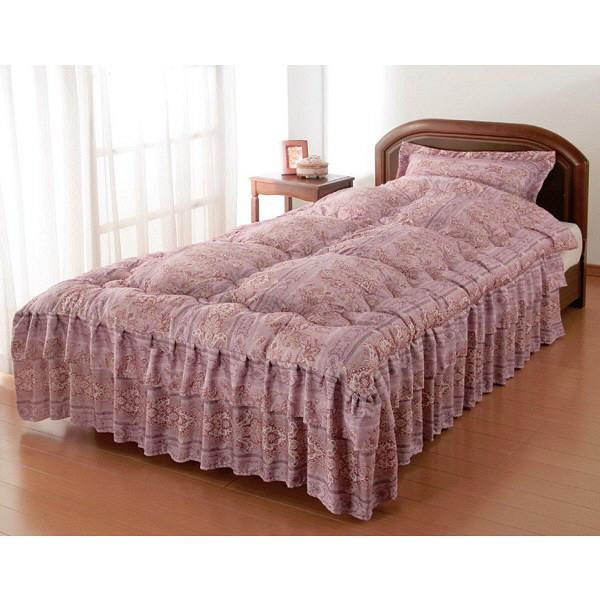 枕カバー付きシルク混ベッド布団セミダブル