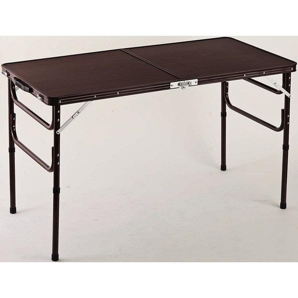 ファミリー・ライフ 木目調軽量折りたたみテーブル ブラウン 幅1200×奥行600×高さ410・700mm 1台 (直送品)