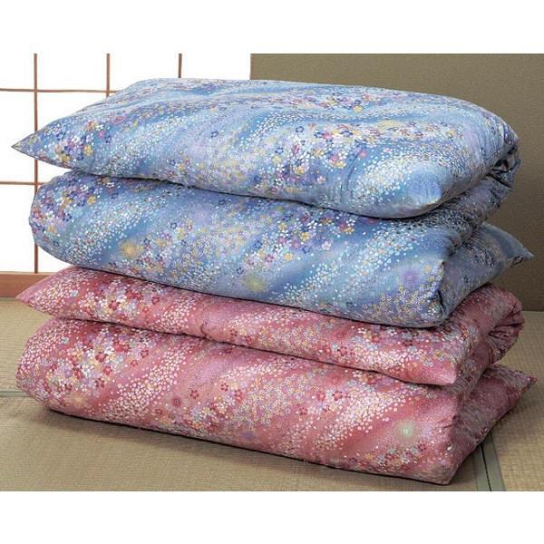 綿サテン敷布団シングル2色セット 花柄