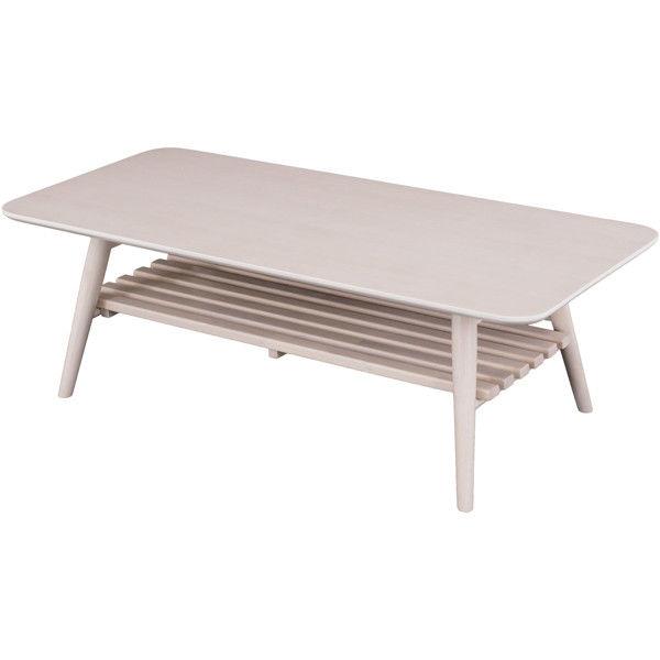 佐藤産業 セレノ棚付きリビングテーブル ホワイト 幅1100×奥行500×高さ350mm 1脚 (直送品)