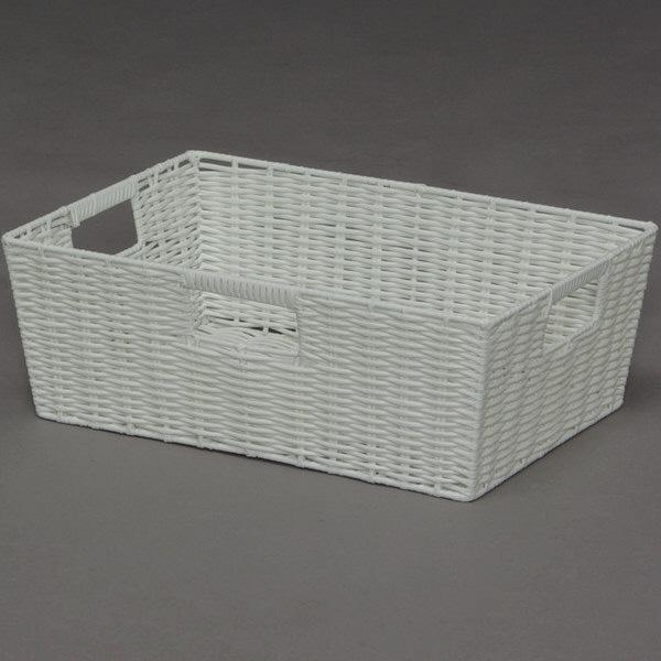 アイリスオーヤマ カラー編みバスケット ホワイト KAB-38 1セット(6個) (直送品)