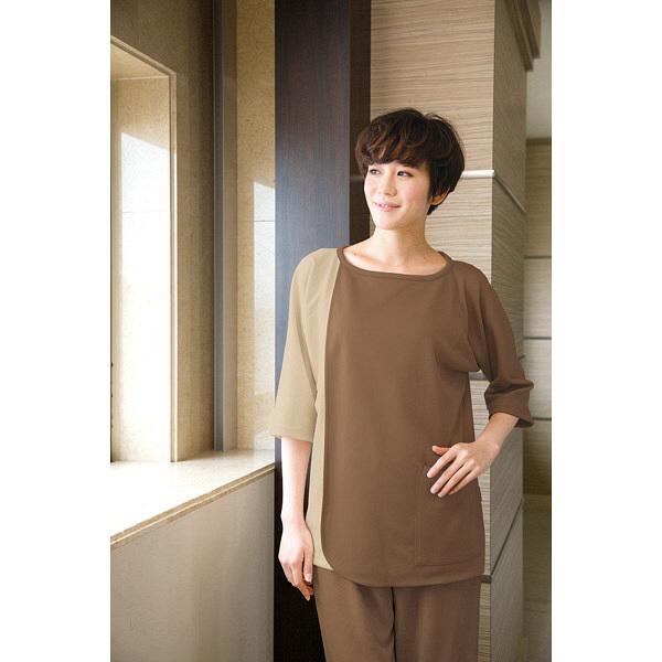 フォーク 検診衣(プルオーバー型前開きタイプ) 7035SK モカ × ベージュ 3L 患者衣 検査衣 1枚 (直送品)