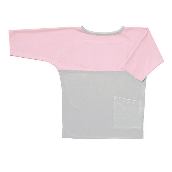 フォーク 検診衣(プルオーバー型スリットタイプ) 検査着 患者衣 男女兼用 グレー×ピンク S 7006SK (直送品)