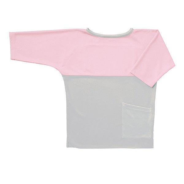 フォーク 検診衣(プルオーバー型スリットタイプ) 検査着 患者衣 男女兼用 グレー×ピンク LL 7006SK (直送品)
