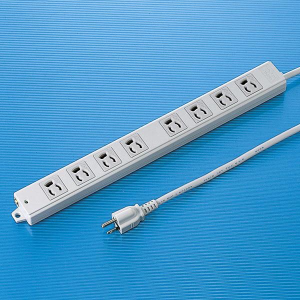 サンワサプライ 工事物件タップ 3P式(絶縁キャップ付き) 8個口 3m TAP-K8-3 1個 (直送品)