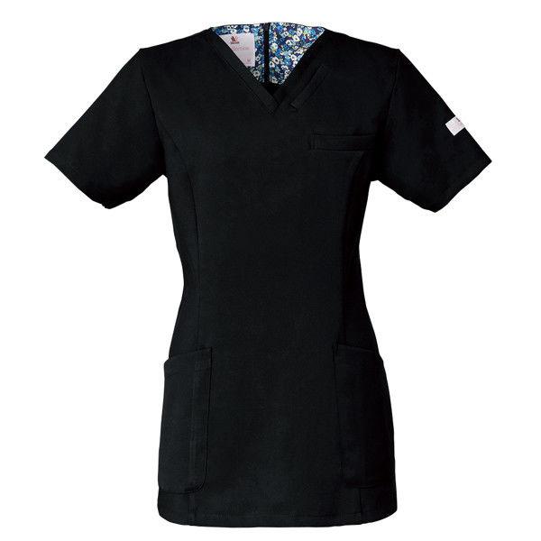 フォーク 医療白衣 ワコールHIコレクション レディススクラブ(後ろジップ) HI700-9 ブラック M (直送品)