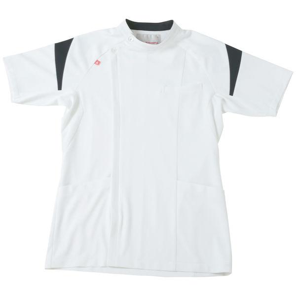 ルコックスポルティフ メンズケーシージャケット(医務衣) ホワイト×ネイビー LL UQM1007 1枚 (直送品)