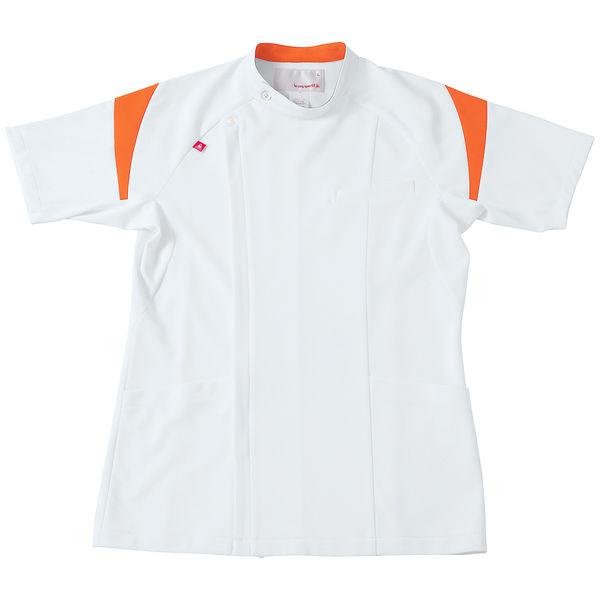 ルコックスポルティフ メンズケーシージャケット(医務衣) ホワイト×オレンジ L UQM1007 1枚 (直送品)