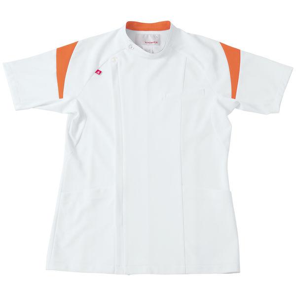 ルコックスポルティフ メンズケーシージャケット(医務衣) ホワイト×オレンジ EL UQM1007 1枚 (直送品)