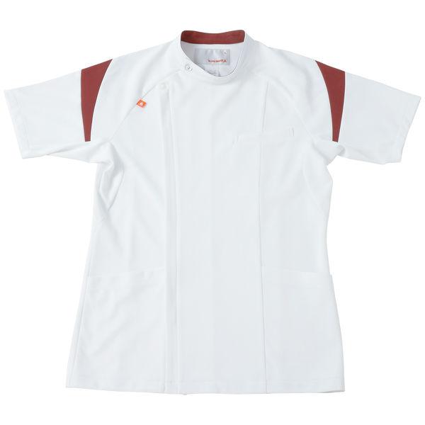 ルコックスポルティフ メンズケーシージャケット(医務衣) ホワイト×ワイン LL UQM1007 1枚 (直送品)