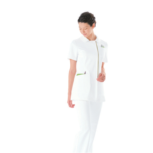 KAZEN レディスジャケット 072-22 ホワイトxオリーブ LL 半袖 白衣 1枚 (直送品)