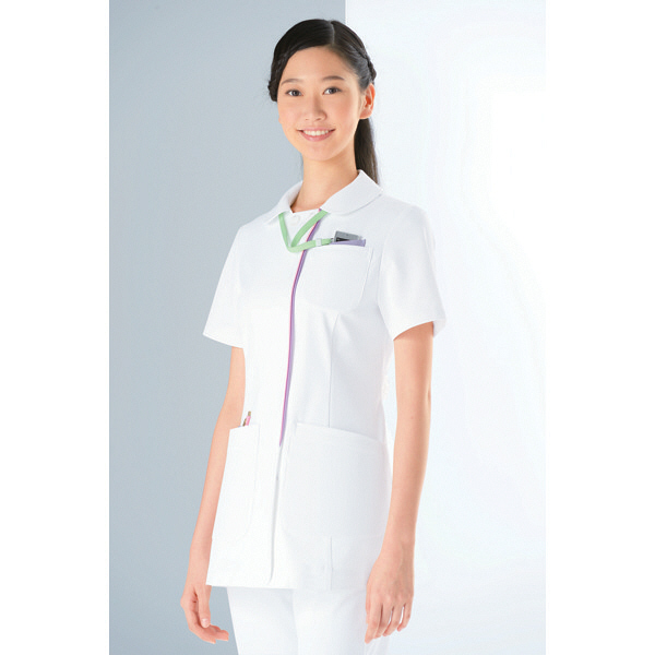 KAZEN レディスジャケット 医療白衣 半袖 ホワイトXラベンダー S 072-24 (直送品)