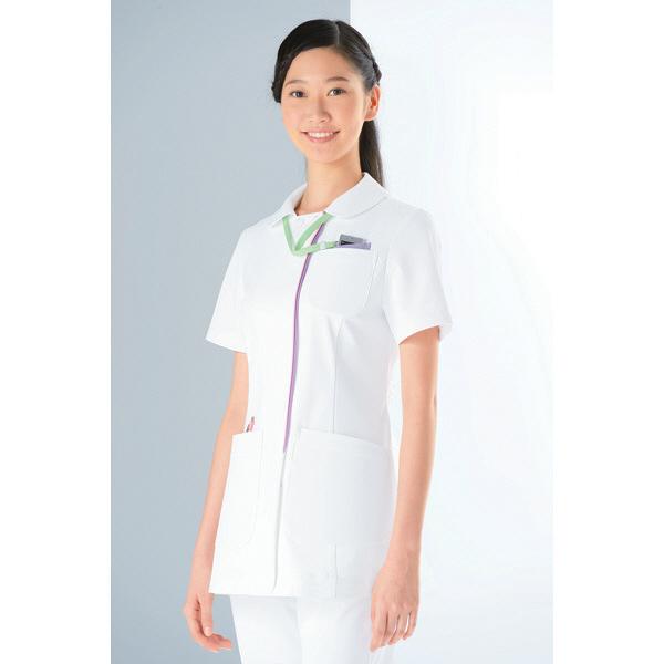 KAZEN レディスジャケット 医療白衣 半袖 ホワイトXラベンダー 3L 072-24 (直送品)
