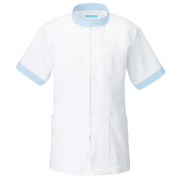 KAZEN ジャケット半袖男女兼用 247 サックス M 白衣 1枚 (直送品)