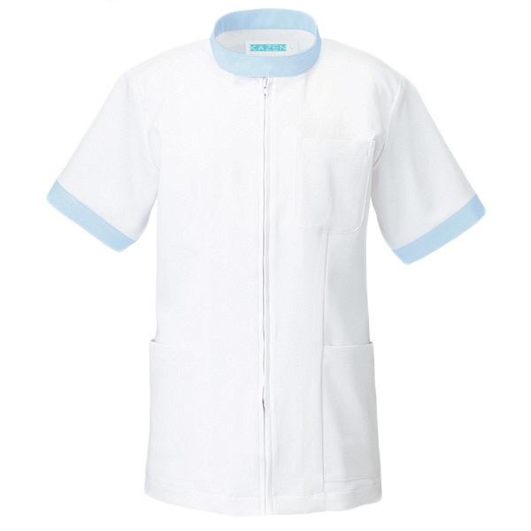KAZEN ジャケット半袖男女兼用 247 サックス L 白衣 1枚 (直送品)
