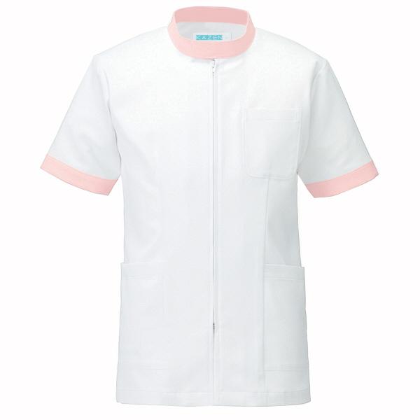 KAZEN ジャケット半袖男女兼用 247 ピンク LL 白衣 1枚 (直送品)