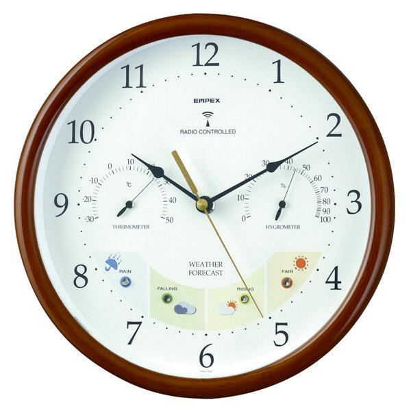 エンペックス ウェザーパル電波時計 掛け時計 [電波 温湿度] 直径270mm BW-873 1個(直送品)