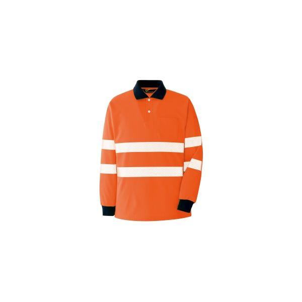 ミドリ安全 作業用ワークシャツ ベルデクセルフレックス 高視認長袖ポロシャツVES2355上 オレンジ M 3120135504 1点(直送品)