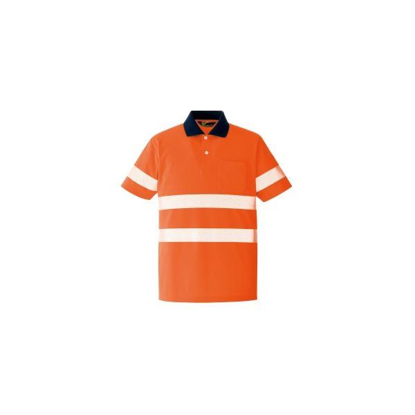ミドリ安全 作業用ワークシャツ ベルデクセルフレックス 高視認半袖ポロシャツVES355上 オレンジ LL 3120135906 1点(直送品)