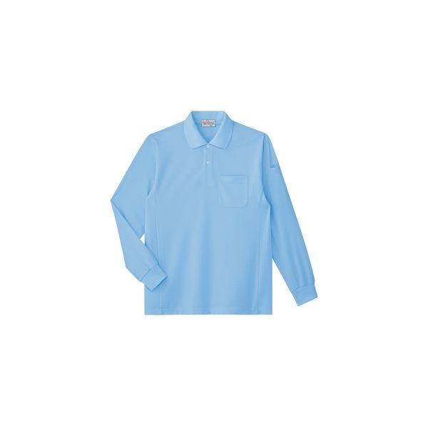 ミドリ安全 作業服 春夏 長袖 ポロシャツ 帯電防止 PS212 LL サックス 1着 3120142406(直送品)