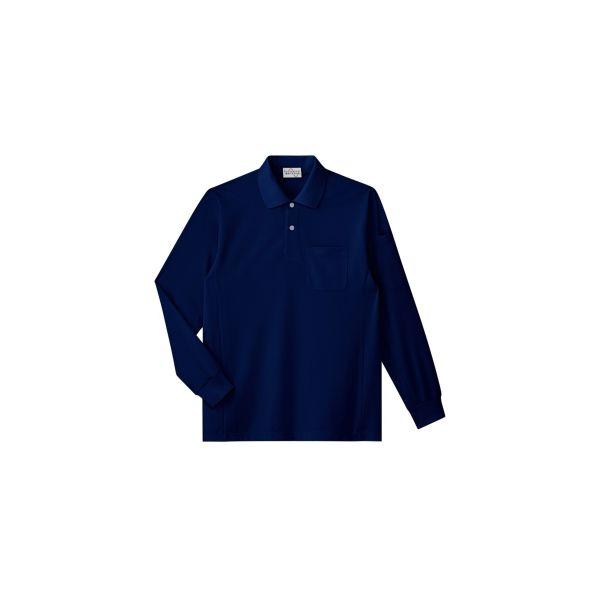 ミドリ安全 作業用ワークシャツ ベルデクセルフレックス エコ帯電防止長袖ポロシャツ PS217 ネイビー M 3120142604 1点(直送品)