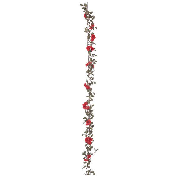 タカショー 人工観葉植物 ガーランド ローズミニ レッド180cm 1セット(6本入)